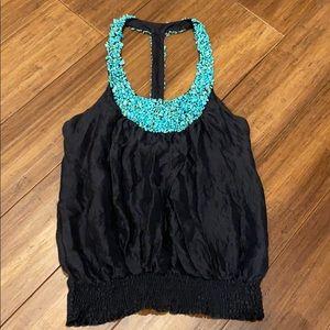 bebe Turquoise Stone T Strap Silk Black Blouse